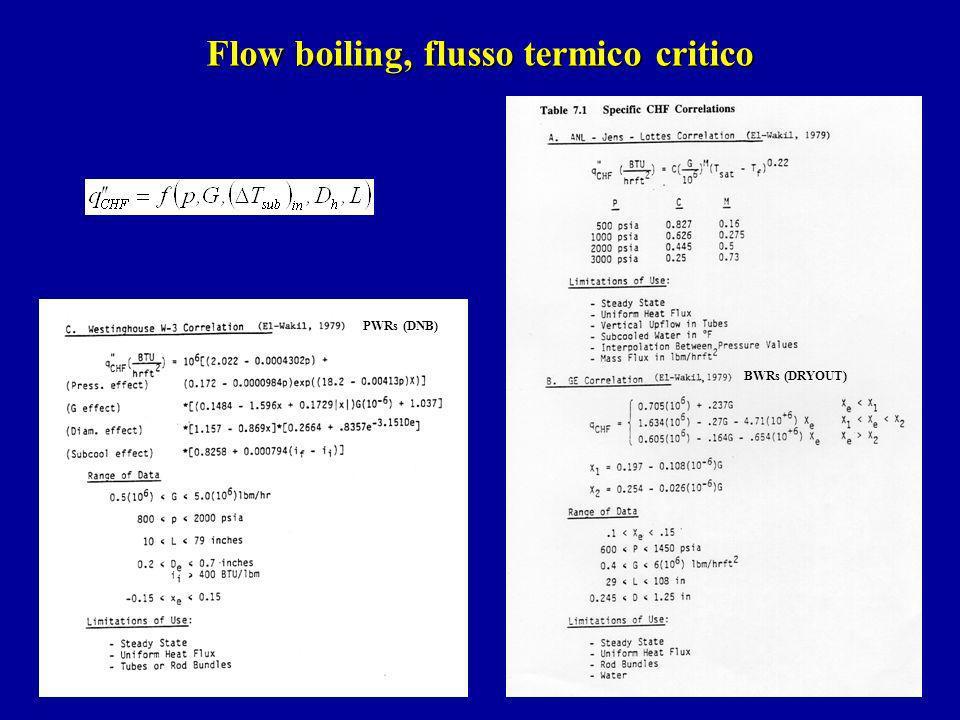 Flow boiling, flusso termico critico BWRs (DRYOUT) PWRs (DNB)