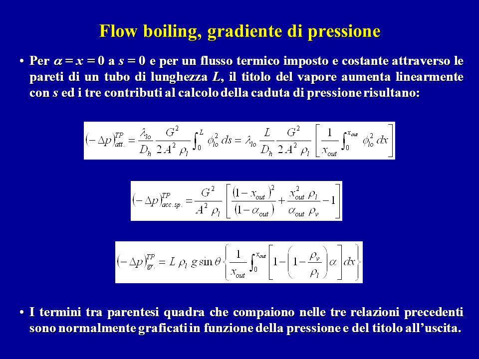 Flow boiling, gradiente di pressione Per = x = 0 a s = 0 e per un flusso termico imposto e costante attraverso le pareti di un tubo di lunghezza L, il