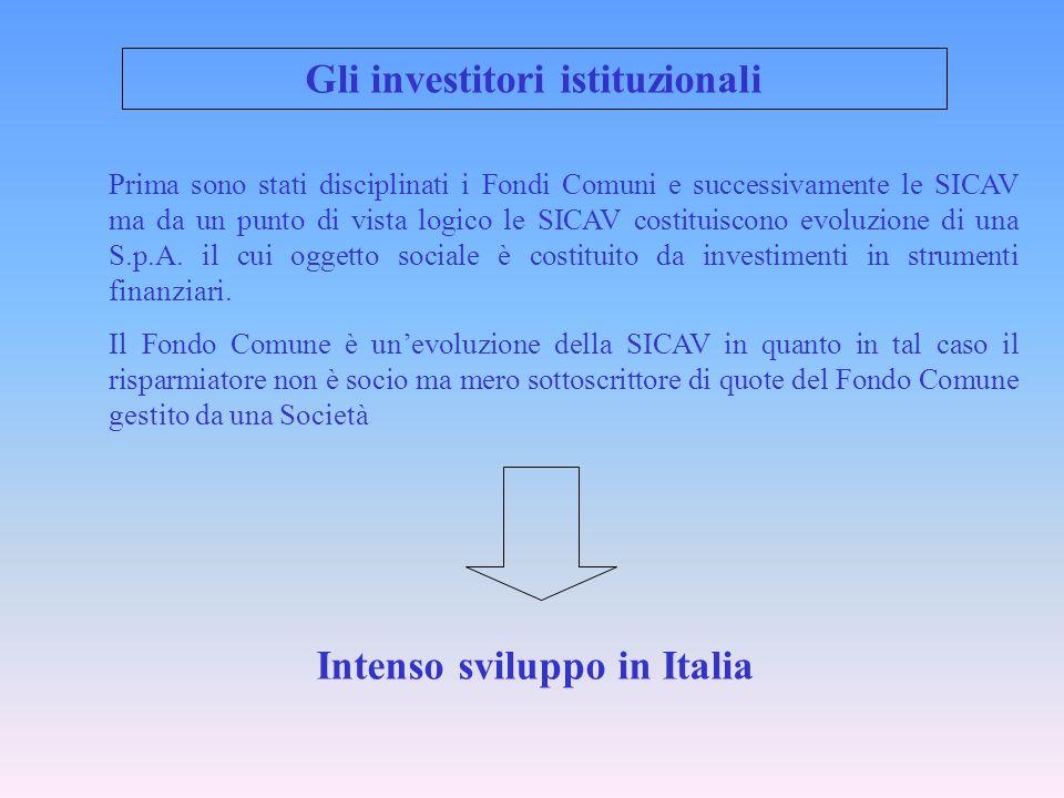 Gli investitori istituzionali Prima sono stati disciplinati i Fondi Comuni e successivamente le SICAV ma da un punto di vista logico le SICAV costitui