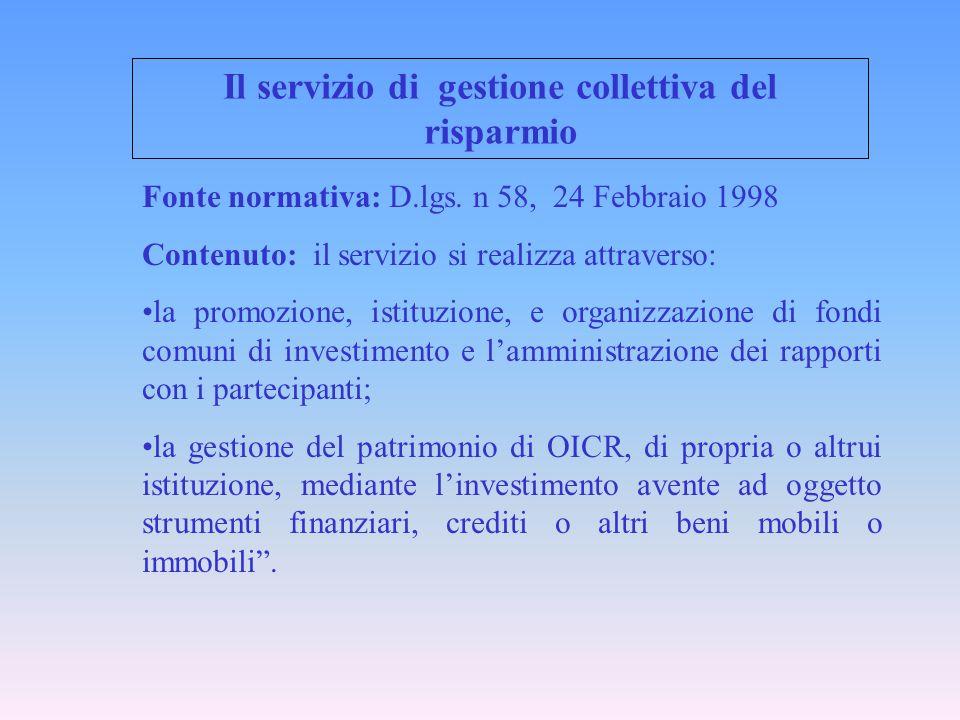 Il servizio di gestione collettiva del risparmio Fonte normativa: D.lgs. n 58, 24 Febbraio 1998 Contenuto: il servizio si realizza attraverso: la prom