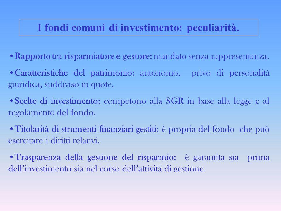 Le tipologie di fondi comuni A seconda delloggetto e delle forme di investimento: A seconda della modalità di partecipazione: Fondi mobiliari Fondi immobiliari Fondi chiusi Fondi aperti
