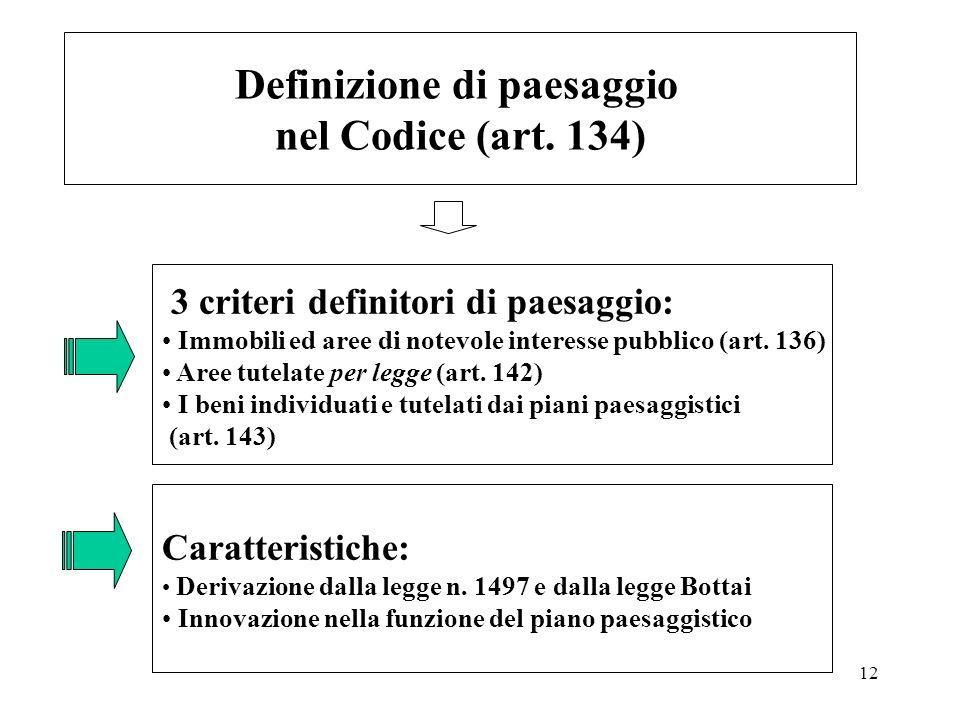 12 Definizione di paesaggio nel Codice (art. 134) 3 criteri definitori di paesaggio: Immobili ed aree di notevole interesse pubblico (art. 136) Aree t