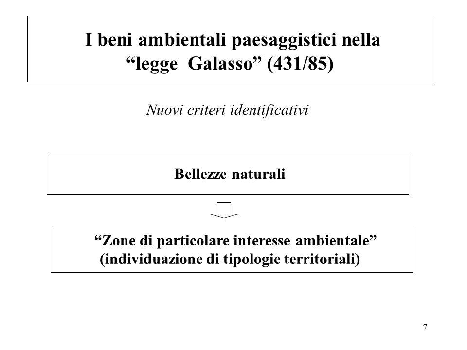 7 I beni ambientali paesaggistici nella legge Galasso (431/85) Bellezze naturali Zone di particolare interesse ambientale (individuazione di tipologie