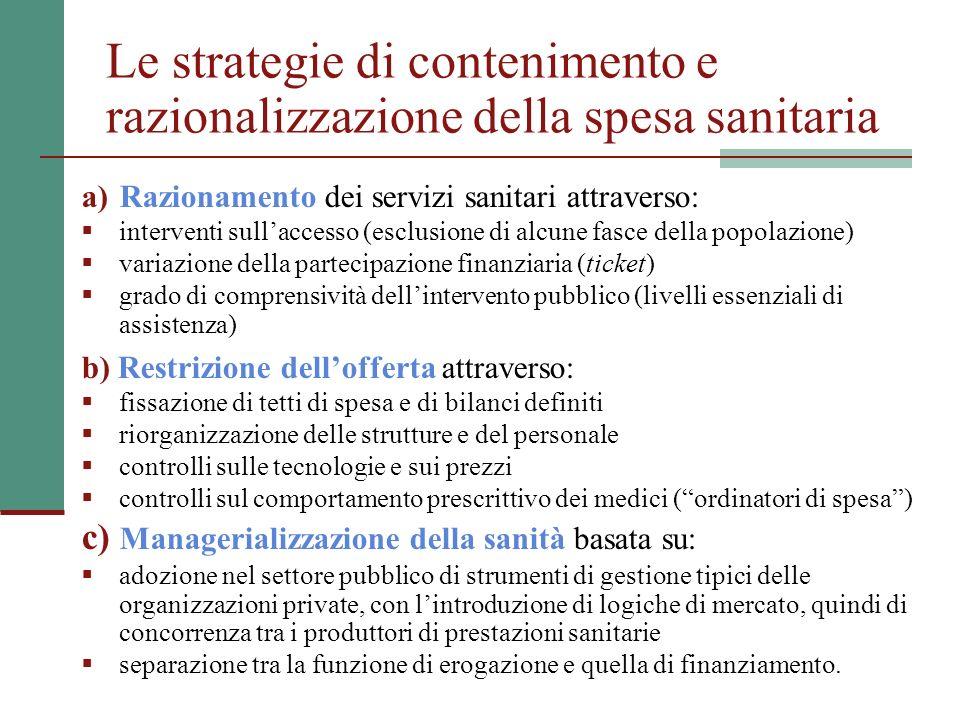 Le strategie di contenimento e razionalizzazione della spesa sanitaria a)Razionamento dei servizi sanitari attraverso: interventi sullaccesso (esclusi