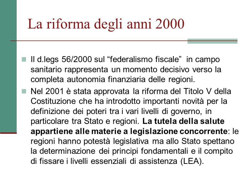La riforma degli anni 2000 Il d.legs 56/2000 sul federalismo fiscale in campo sanitario rappresenta un momento decisivo verso la completa autonomia fi