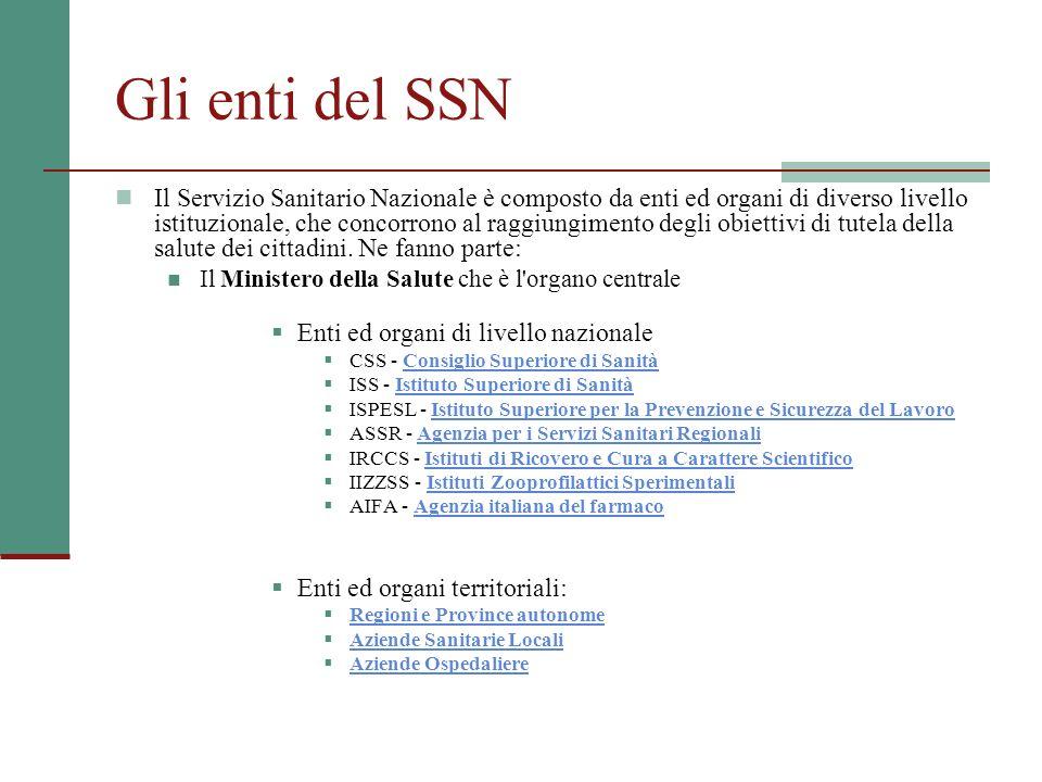 Gli enti del SSN Il Servizio Sanitario Nazionale è composto da enti ed organi di diverso livello istituzionale, che concorrono al raggiungimento degli