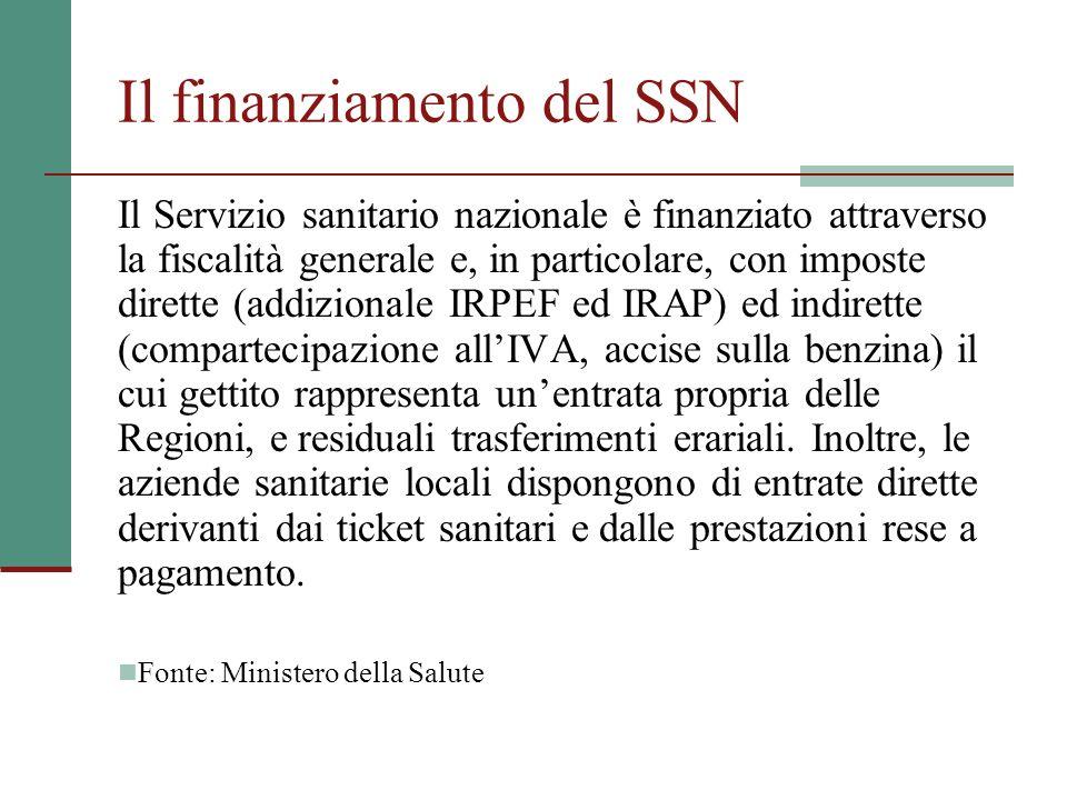 Il finanziamento del SSN Il Servizio sanitario nazionale è finanziato attraverso la fiscalità generale e, in particolare, con imposte dirette (addizio