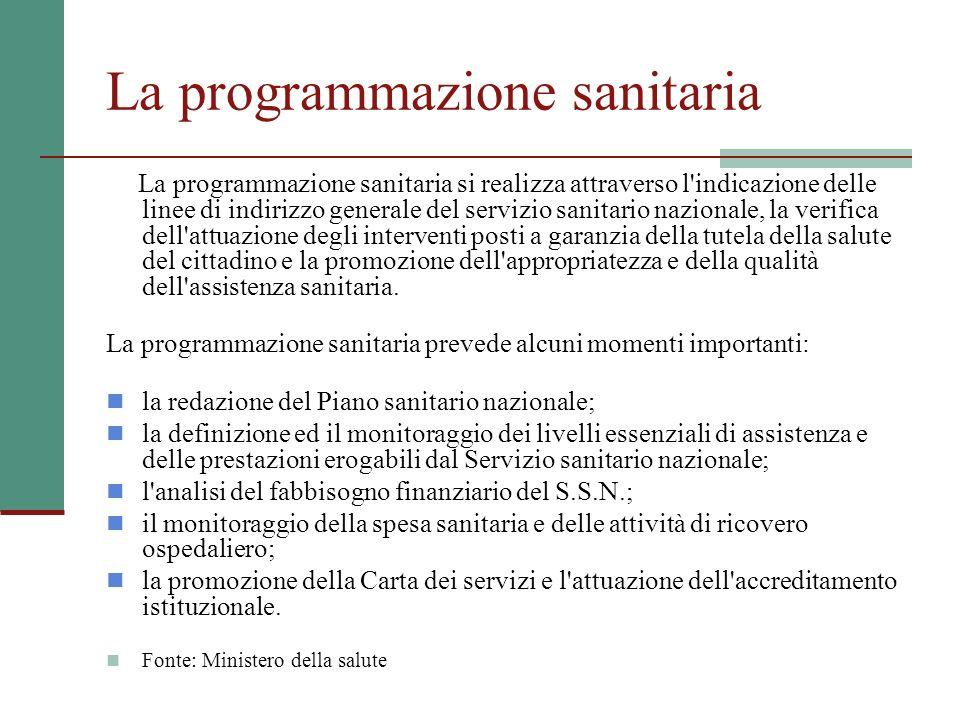 La programmazione sanitaria La programmazione sanitaria si realizza attraverso l'indicazione delle linee di indirizzo generale del servizio sanitario