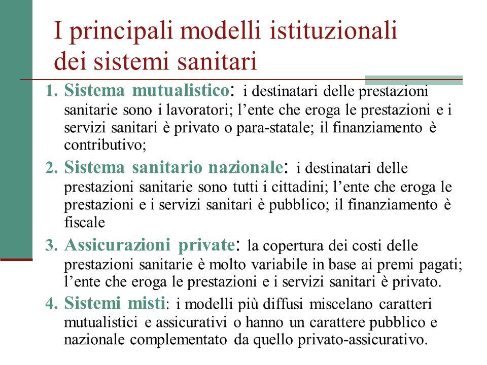 I principali modelli istituzionali dei sistemi sanitari 1. Sistema mutualistico : i destinatari delle prestazioni sanitarie sono i lavoratori; lente c