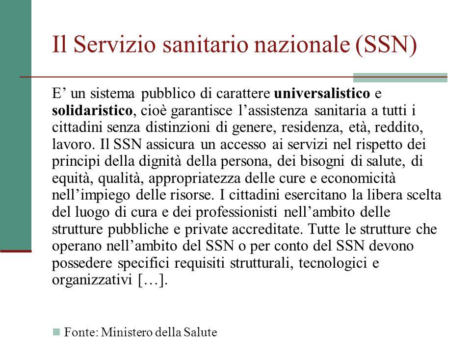 Il Servizio sanitario nazionale (SSN) E un sistema pubblico di carattere universalistico e solidaristico, cioè garantisce lassistenza sanitaria a tutt