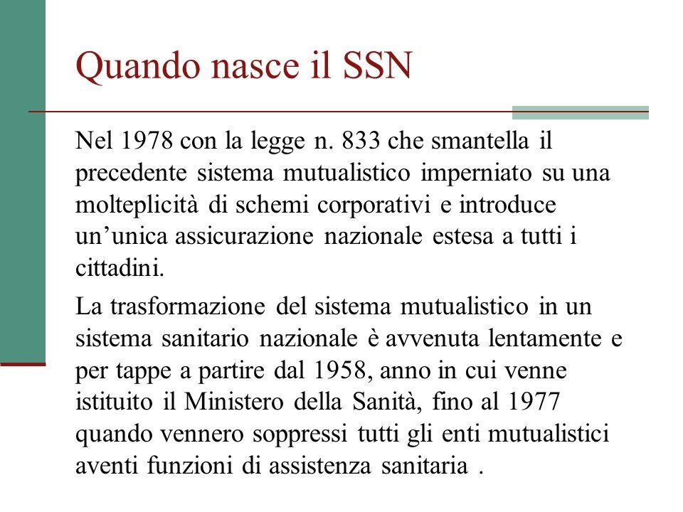 Quando nasce il SSN Nel 1978 con la legge n. 833 che smantella il precedente sistema mutualistico imperniato su una molteplicità di schemi corporativi