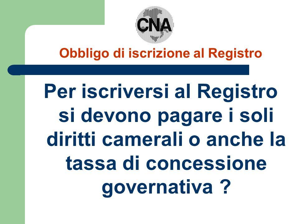 Obbligo di iscrizione al Registro Per iscriversi al Registro si devono pagare i soli diritti camerali o anche la tassa di concessione governativa ?