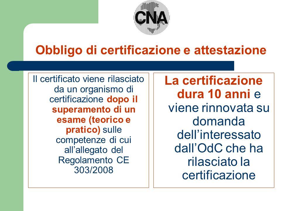 Obbligo di certificazione e attestazione Il certificato viene rilasciato da un organismo di certificazione dopo il superamento di un esame (teorico e pratico) sulle competenze di cui allallegato del Regolamento CE 303/2008 La certificazione dura 10 anni e viene rinnovata su domanda dellinteressato dallOdC che ha rilasciato la certificazione