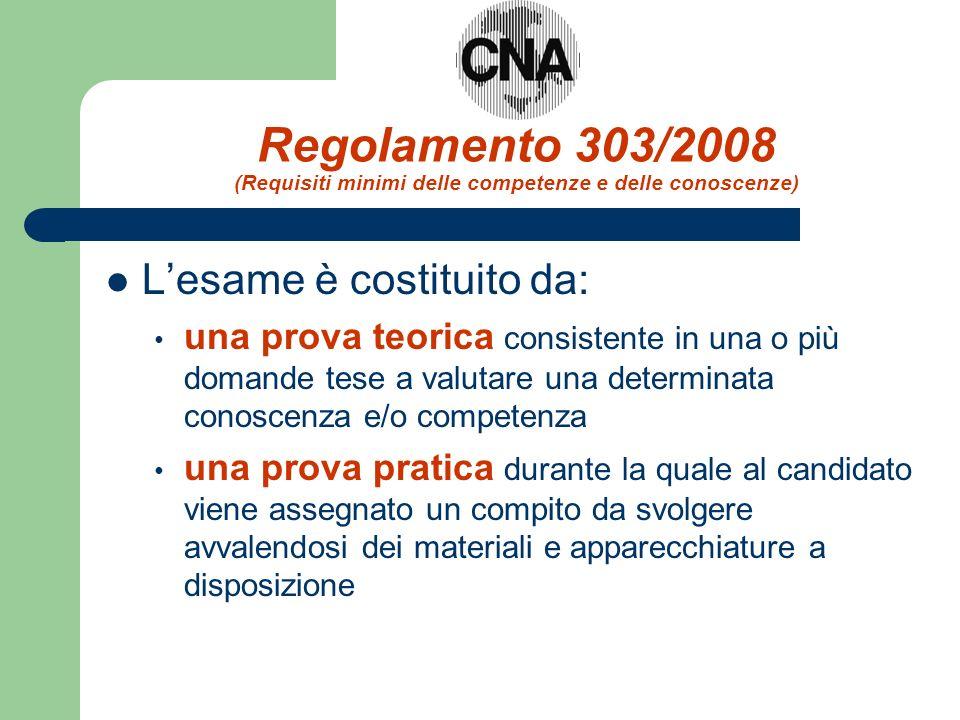 Regolamento 303/2008 (Requisiti minimi delle competenze e delle conoscenze) Lesame è costituito da: una prova teorica consistente in una o più domande