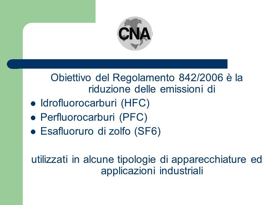 Obiettivo del Regolamento 842/2006 è la riduzione delle emissioni di Idrofluorocarburi (HFC) Perfluorocarburi (PFC) Esafluoruro di zolfo (SF6) utilizzati in alcune tipologie di apparecchiature ed applicazioni industriali