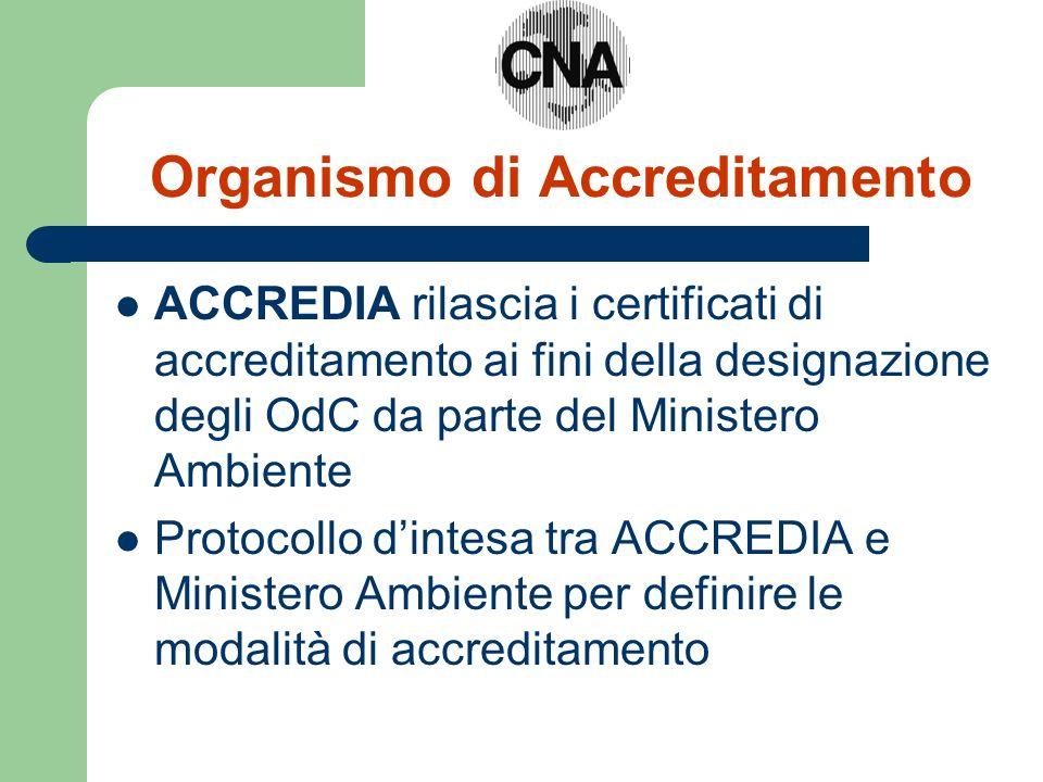 Organismo di Accreditamento ACCREDIA rilascia i certificati di accreditamento ai fini della designazione degli OdC da parte del Ministero Ambiente Protocollo dintesa tra ACCREDIA e Ministero Ambiente per definire le modalità di accreditamento