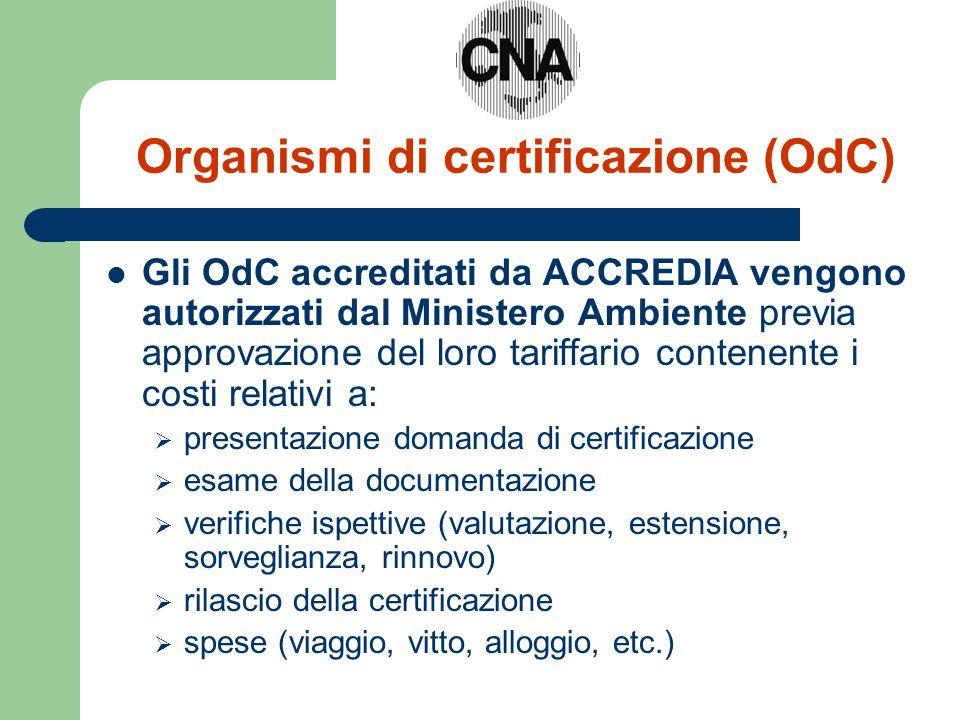 Organismi di certificazione (OdC) Gli OdC accreditati da ACCREDIA vengono autorizzati dal Ministero Ambiente previa approvazione del loro tariffario c