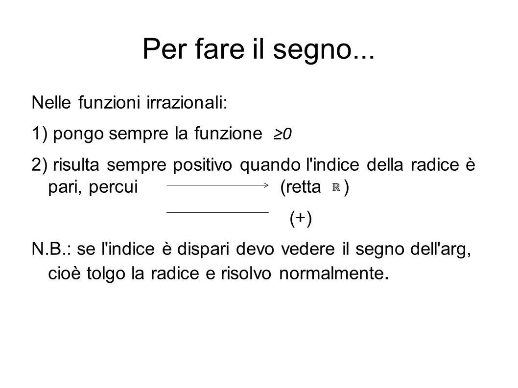 Per fare il segno... Nelle funzioni irrazionali: 1) pongo sempre la funzione 0 2) risulta sempre positivo quando l'indice della radice è pari, percui