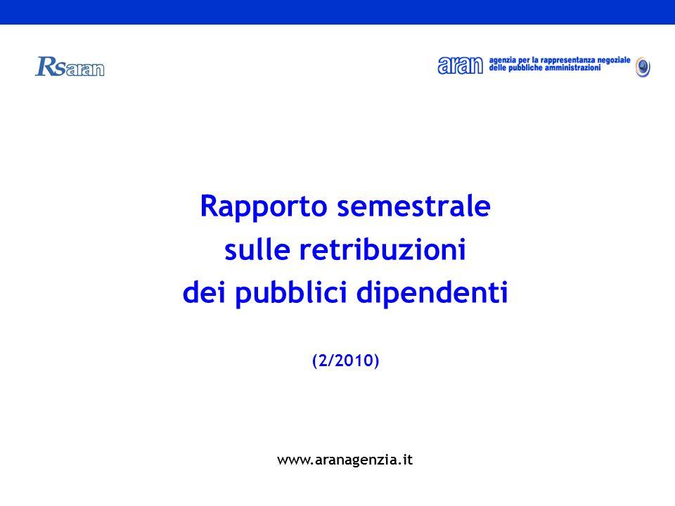Rapporto semestrale sulle retribuzioni dei pubblici dipendenti (2/2010) www.aranagenzia.it