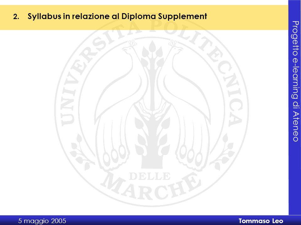 Progetto e-learning di Ateneo 5 maggio 2005 Tommaso Leo 2.
