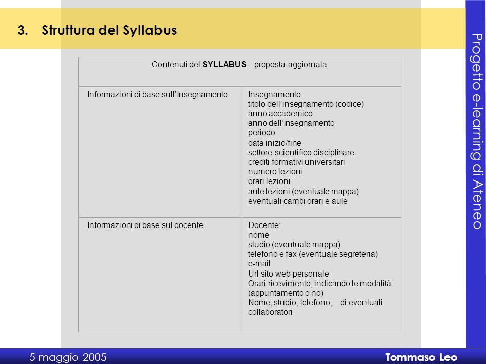 Progetto e-learning di Ateneo 5 maggio 2005 Tommaso Leo Grazie dellattenzione
