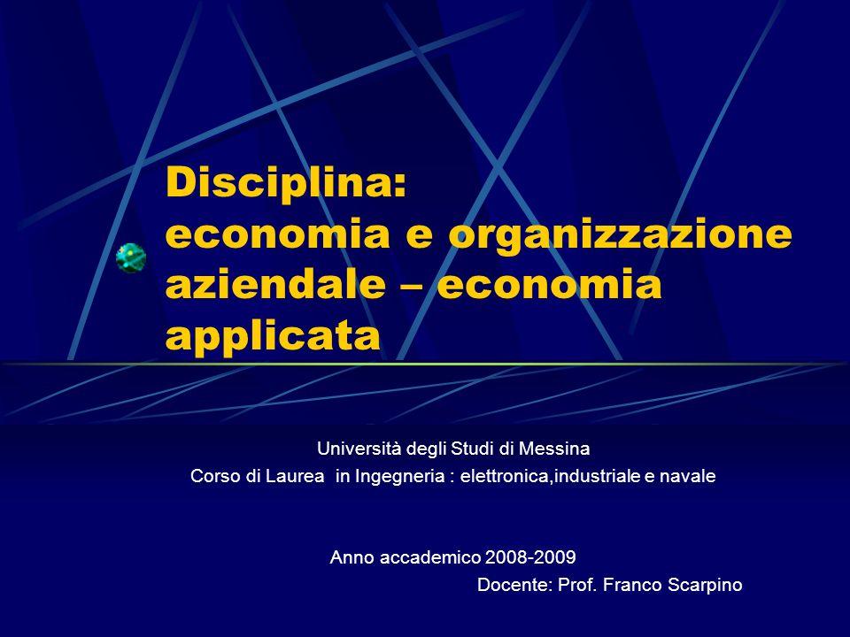 Disciplina: economia e organizzazione aziendale – economia applicata Università degli Studi di Messina Corso di Laurea in Ingegneria : elettronica,industriale e navale Anno accademico 2008-2009 Docente: Prof.