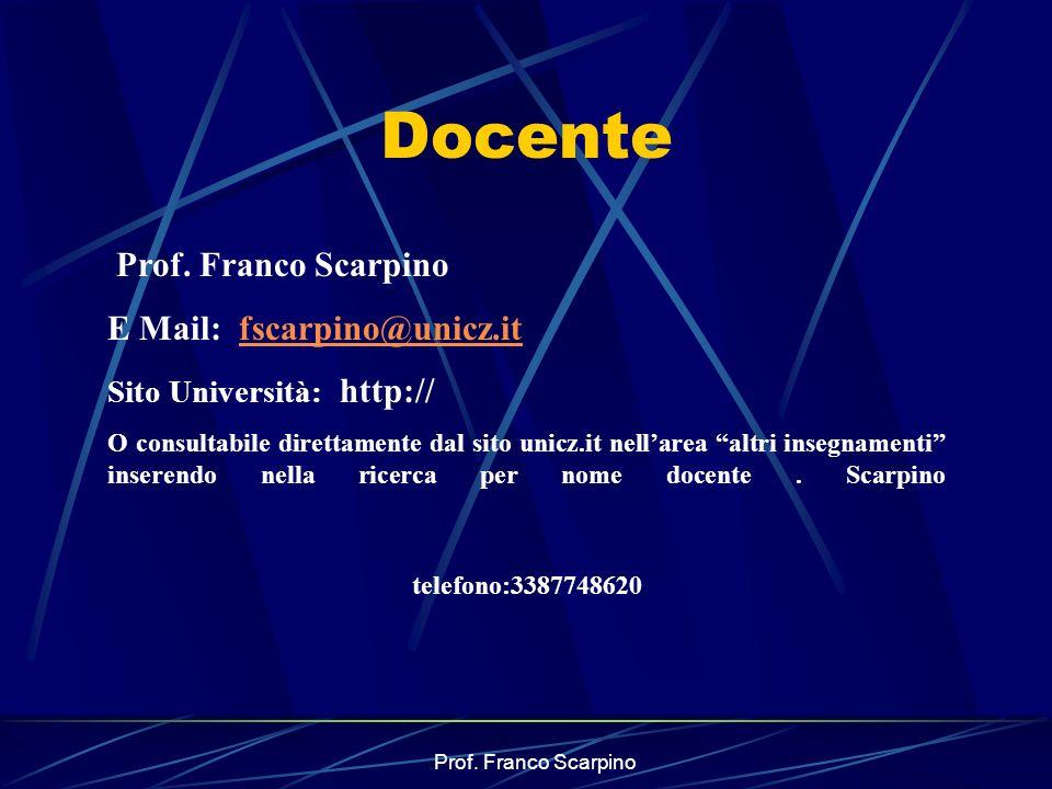 Prof. Franco Scarpino Docente Prof. Franco Scarpino E Mail: fscarpino@unicz.itfscarpino@unicz.it Sito Università: http:// O consultabile direttamente