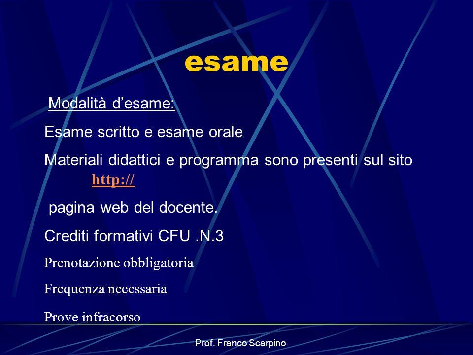 Prof. Franco Scarpino esame Modalità desame: Esame scritto e esame orale Materiali didattici e programma sono presenti sul sito http:// http:// pagina