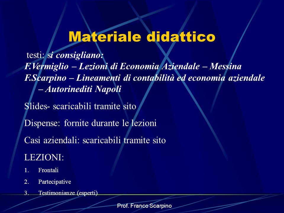 Prof. Franco Scarpino Materiale didattico testi: si consigliano: F.Vermiglio – Lezioni di Economia Aziendale – Messina F.Scarpino – Lineamenti di cont