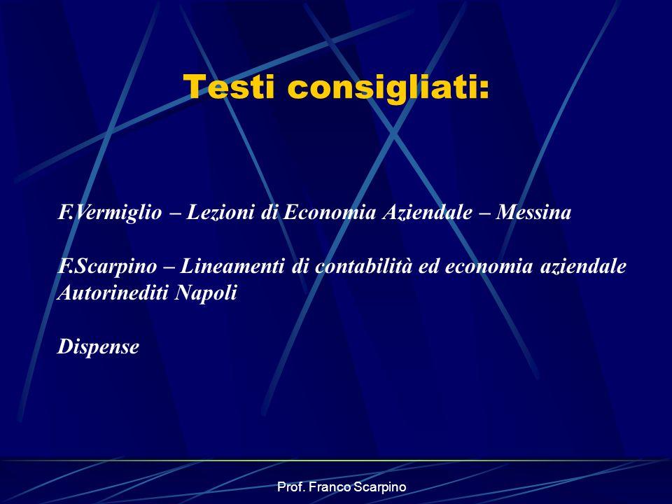 Prof. Franco Scarpino Testi consigliati: F.Vermiglio – Lezioni di Economia Aziendale – Messina F.Scarpino – Lineamenti di contabilità ed economia azie