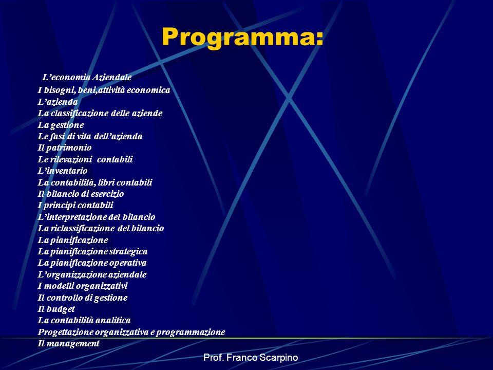 Prof. Franco Scarpino Programma: Leconomia Aziendale I bisogni, beni,attività economica Lazienda La classificazione delle aziende La gestione Le fasi