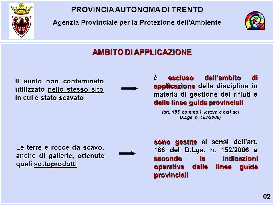 PROVINCIA AUTONOMA DI TRENTO Agenzia Provinciale per la Protezione dell Ambiente PRESUPPOSTI PER LUTILIZZO 1.