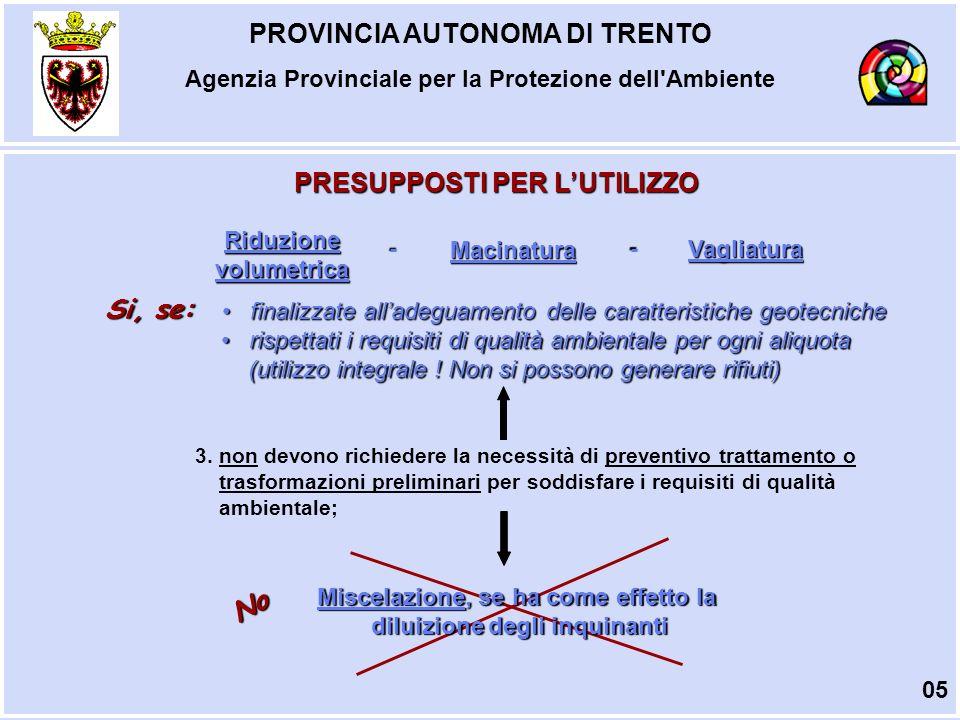 PROVINCIA AUTONOMA DI TRENTO Agenzia Provinciale per la Protezione dell Ambiente MODALITA DI UTILIZZO CONSENTITE Reinterri; riempimenti; rimodellazione; rilevati; nei processi industriali, in sostituzione dei materiali di cava.