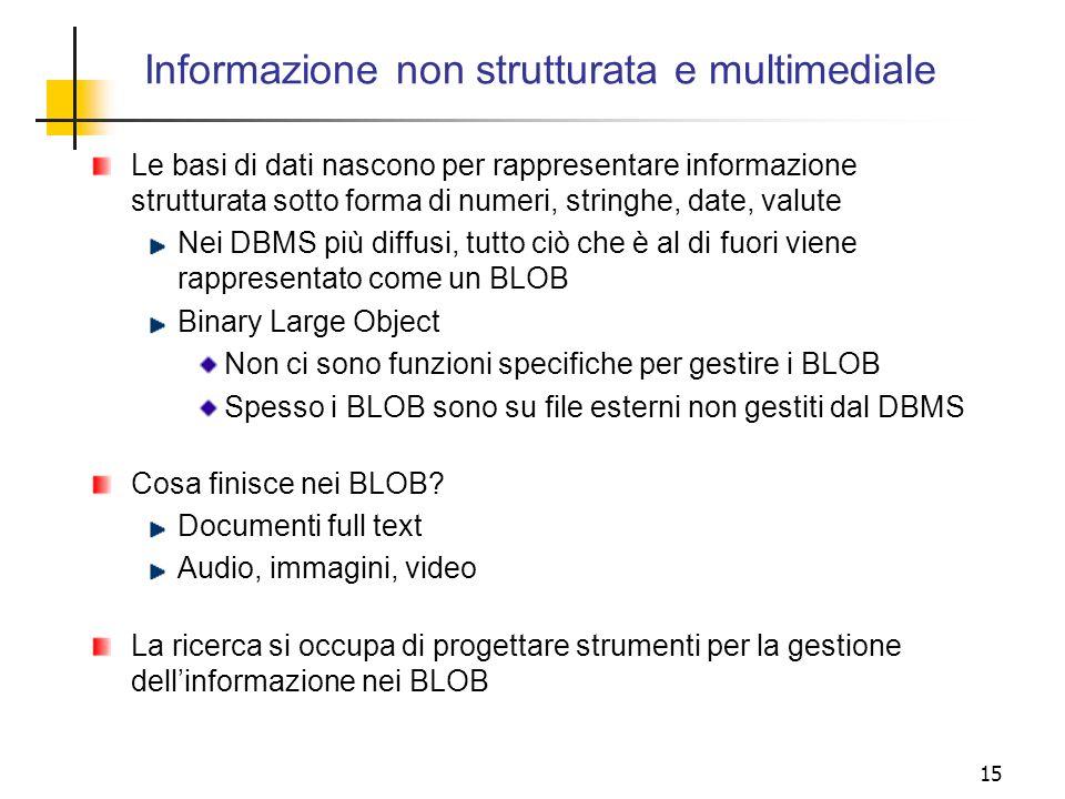 15 Le basi di dati nascono per rappresentare informazione strutturata sotto forma di numeri, stringhe, date, valute Nei DBMS più diffusi, tutto ciò ch