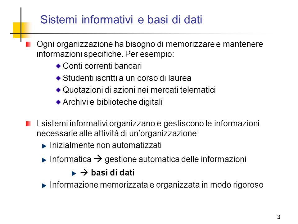 3 Ogni organizzazione ha bisogno di memorizzare e mantenere informazioni specifiche. Per esempio: Conti correnti bancari Studenti iscritti a un corso
