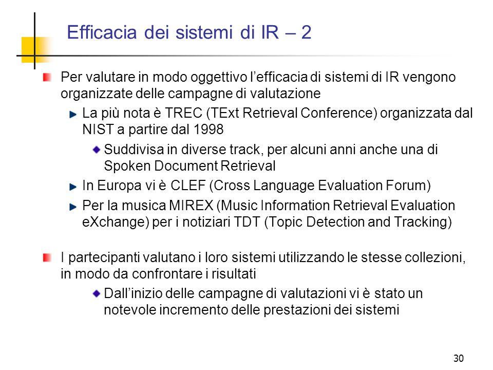 30 Efficacia dei sistemi di IR – 2 Per valutare in modo oggettivo lefficacia di sistemi di IR vengono organizzate delle campagne di valutazione La più
