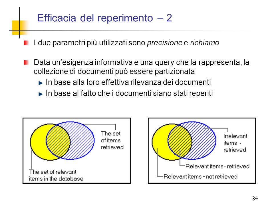 34 Efficacia del reperimento – 2 I due parametri più utilizzati sono precisione e richiamo Data unesigenza informativa e una query che la rappresenta,