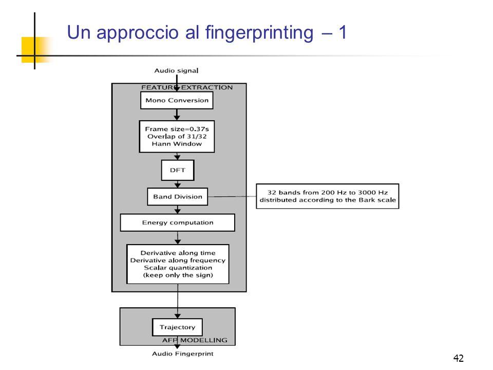 42 Un approccio al fingerprinting – 1
