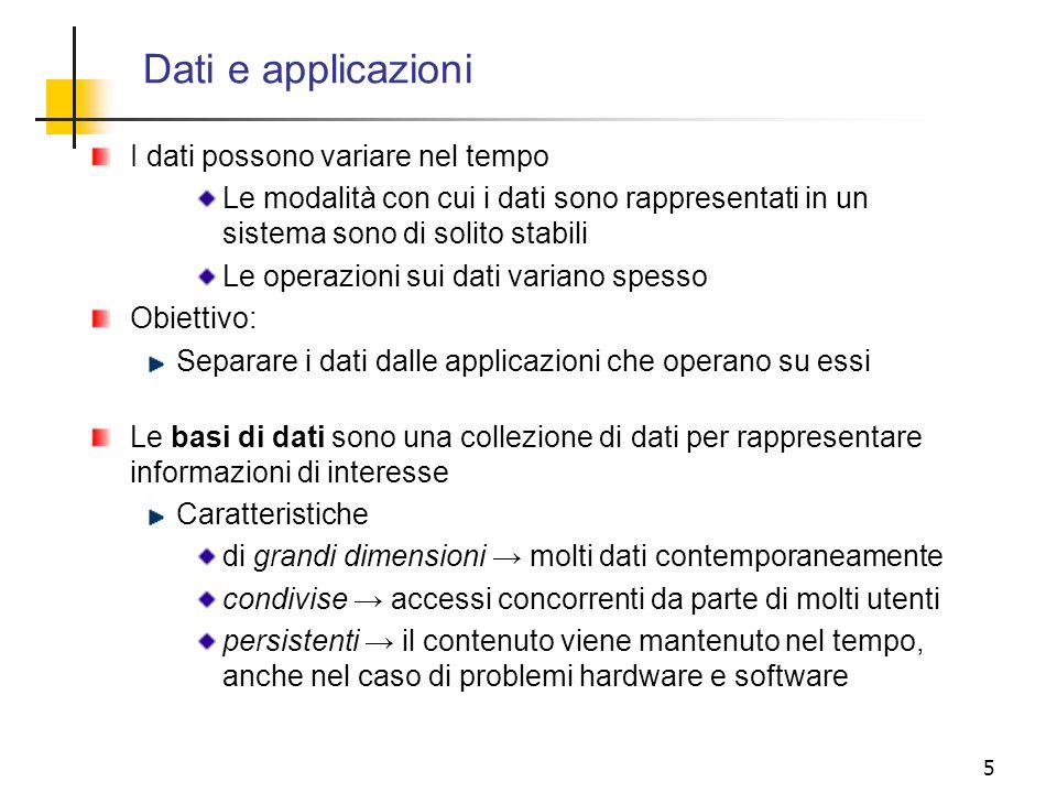 5 I dati possono variare nel tempo Le modalità con cui i dati sono rappresentati in un sistema sono di solito stabili Le operazioni sui dati variano s