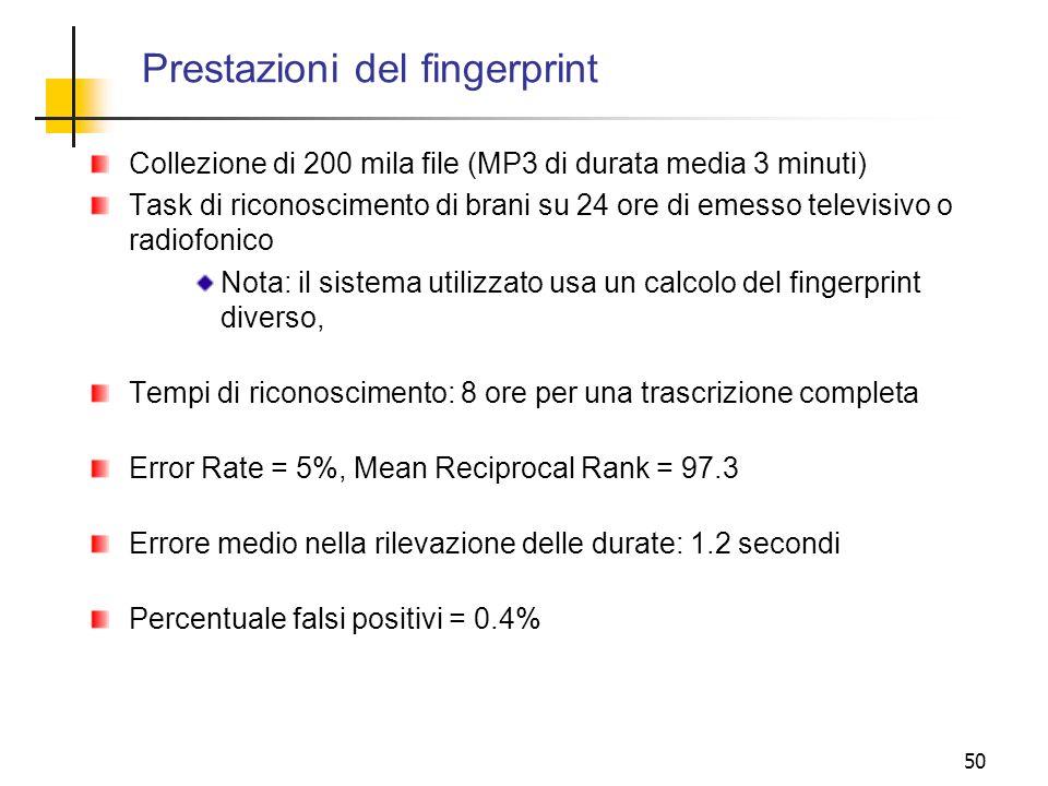 Prestazioni del fingerprint Collezione di 200 mila file (MP3 di durata media 3 minuti) Task di riconoscimento di brani su 24 ore di emesso televisivo