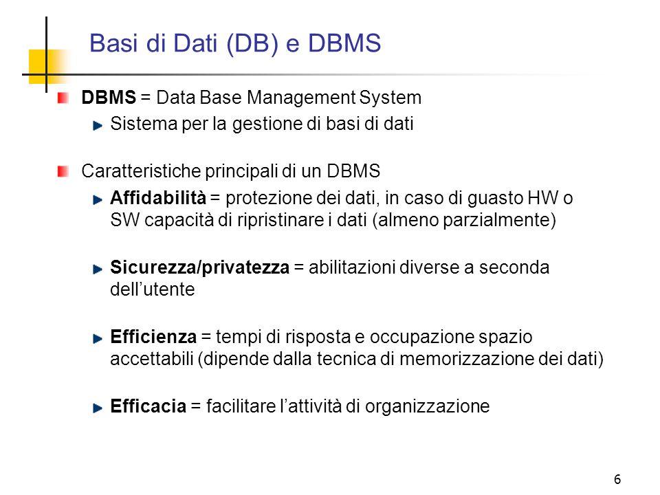 6 DBMS = Data Base Management System Sistema per la gestione di basi di dati Caratteristiche principali di un DBMS Affidabilità = protezione dei dati,