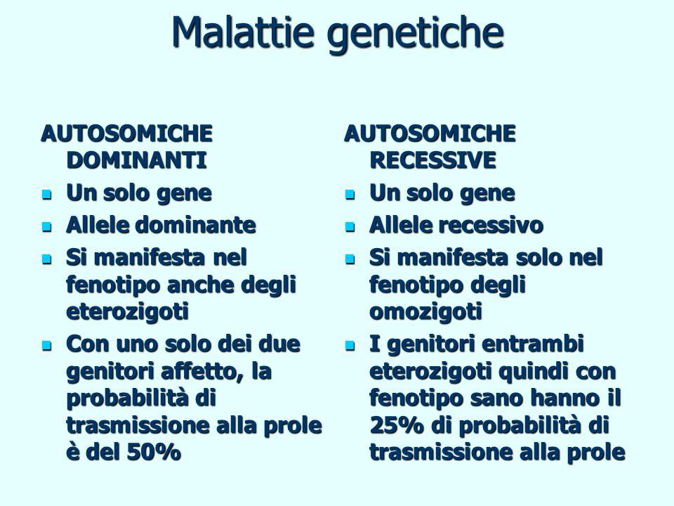 Malattie genetiche AUTOSOMICHE DOMINANTI Un solo gene Un solo gene Allele dominante Allele dominante Si manifesta nel fenotipo anche degli eterozigoti