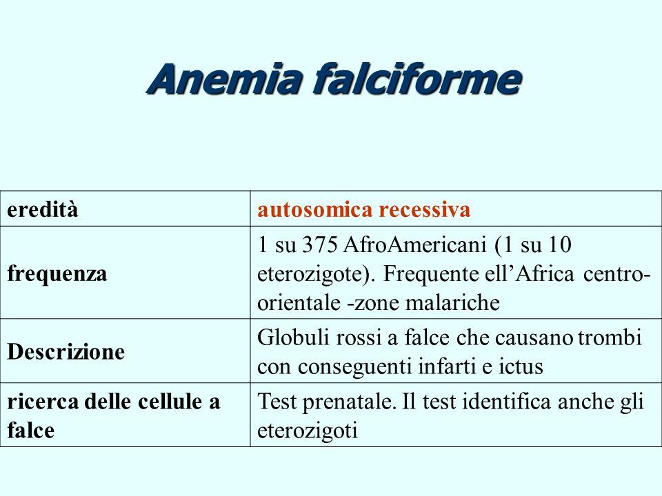 Anemia falciforme ereditàautosomica recessiva frequenza 1 su 375 AfroAmericani (1 su 10 eterozigote). Frequente ellAfrica centro- orientale -zone mala