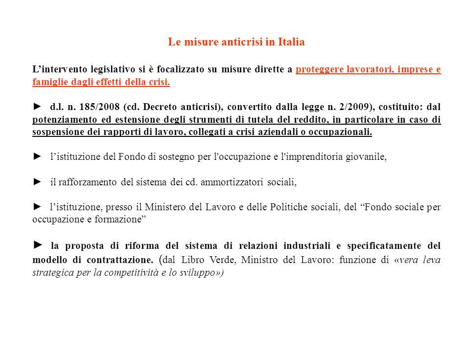 Le misure anticrisi in Italia Lintervento legislativo si è focalizzato su misure dirette a proteggere lavoratori, imprese e famiglie dagli effetti del