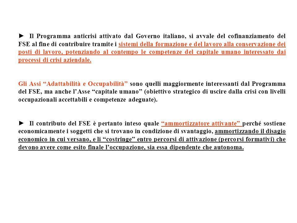 Il Programma anticrisi attivato dal Governo italiano, si avvale del cofinanziamento del FSE al fine di contribuire tramite i sistemi della formazione