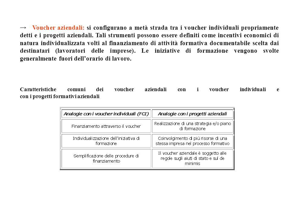 Voucher aziendali: si configurano a metà strada tra i voucher individuali propriamente detti e i progetti aziendali. Tali strumenti possono essere def