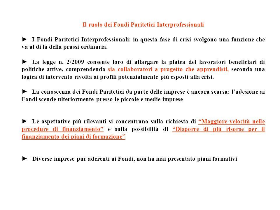 Il ruolo dei Fondi Paritetici Interprofessionali I Fondi Paritetici Interprofessionali: in questa fase di crisi svolgono una funzione che va al di là