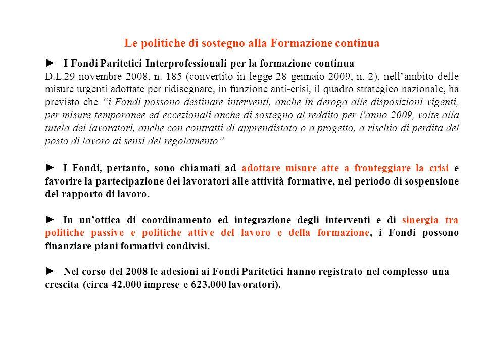 Le politiche di sostegno alla Formazione continua I Fondi Paritetici Interprofessionali per la formazione continua D.L.29 novembre 2008, n. 185 (conve