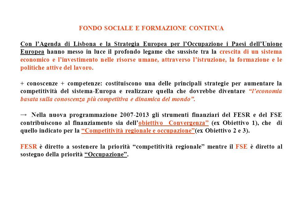 FONDO SOCIALE E FORMAZIONE CONTINUA Con lAgenda di Lisbona e la Strategia Europea per lOccupazione i Paesi dellUnione Europea hanno messo in luce il p