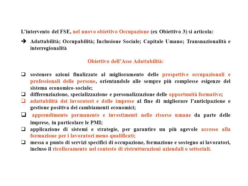 Lintervento del FSE, nel nuovo obiettivo Occupazione (ex Obiettivo 3) si articola: Adattabilità; Occupabilità; Inclusione Sociale; Capitale Umano; Tra